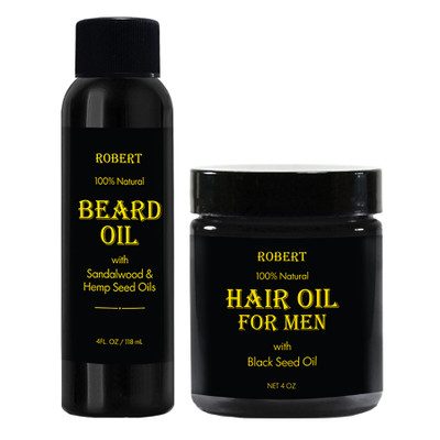 Robert 100% Natural Beard Oil and Hair Oil for Men 4oz Combo