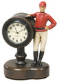 "Painted Jockey Desk Clock  SKU # A21-1502B  Great desk clock to remind one of time left before post.  3""W x 4""H x 2""D"