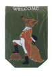 "Garden Flag - ""Sir Fox""  SKU # A17-2206A  Let dapper ""Sir Fox"" welcome your guests in style.  Embroidered and appliqued.  Garden Flag Stake sold separately.   13"" x 18"""