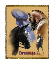 """Dressage Throw  SKU # A19-1401C  Dressage is beautifully displayed on this stunning throw.   100% cotton tapestry afghan.  Machine washable.  Made in the USA.  2.5 lbs.  60""""L x 48""""W"""