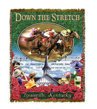 """Down The Stretch Throw  SKU # A19-1401B  Racing horses are beautifully displayed above the crowd, steeple and song """"My Old Kentucky Home"""" on this colorful throw.   100% cotton tapestry afghan.  Machine washable.  Made in the USA.  2.5 lbs.  60""""L x 48""""W"""