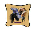 "Dressage Pillow  SKU # A19-1201D  Dressage is beautifully displayed in this colorful pillow.  Made in the USA.   2 lb.  16"" W x 16"" H x 2.5"" D"