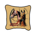 "Saddlebred Pillow  SKU # A19-1201F  Two beautiful American Saddlebred horses are displayed in this colorful pillow. Made in the USA.   2 lb.  16"" W x 16"" H x 2.5"" D"