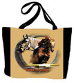"Jumper Tote  SKU # A11-1208J  A jumper and its rider are beautifully displayed on this colorful tote.  Machine washable tote made in the USA.  1.5 lb.  17""W x 11""H x .15""D"