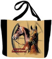 "Saddlebred Tote  SKU # A11-1208K  Two handsome American Saddlebred horses are beautifully displayed on this colorful tote.  Machine washable tote made in the USA.  1.5 lb.  17""W x 11""H x .15""D"
