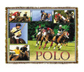 "Polo Throw  SKU # A19-1401R  Polo players and ponies in play are beautifully displayed on this stunning throw.   100% cotton tapestry afghan.  Machine washable.  Made in the USA.  2.5 lbs.  60""L x 48""W"