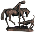 "Huntsman With Hound Sculpture  SKU # A20-2103B  Beautifully detailed sculpture of a mounted huntsman bending down to tend to his foxhound.  Please call for information on our matching lamp.  17""W x 12""H x 6.25""D"