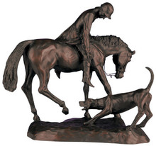 """Huntsman With Hound Sculpture  SKU # A20-2103B  Beautifully detailed sculpture of a mounted huntsman bending down to tend to his foxhound.  Please call for information on our matching lamp.  17""""W x 12""""H x 6.25""""D"""