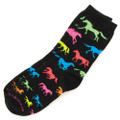 Adult Black Neon Horses Socks