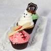 An example of some of our Halloween cupcakes...a strawberry vanilla cupcake, vanilla bean ghost and our favorite - cookies and cream with a special tombstone chocolate cookie.
