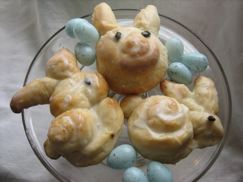 Easter Bunny Glazed Cinnamon Rolls