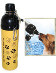 Pet Water Bottle - YELLOW PAWS (24 oz), Case of 24
