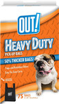 OUT! Heavy Duty Extra Thick Dog Waste Bags, 6x10 in, 75 bags w/ handles