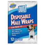 OUT! Disposable Male Dog Diapers, 12 count, Medium