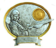 """8"""" tall oval resin legend military plaque, Air Force Male Service Member that can be used with its pedestal, hung to a wall by itself or mounted to an awards plaque board."""