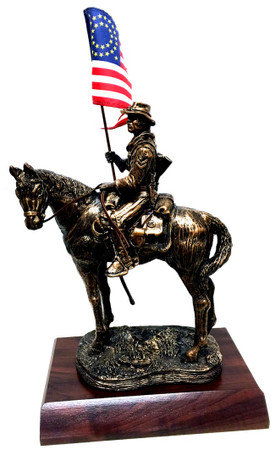 "12"" tall buffalo soldier on horse bronze tone statue mounted on a 11""W x 8""D x 1-1/2""H laminated cherry base."