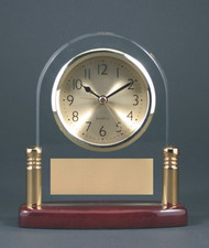 "Clock arch with post, rosewood piano finish; 5-3/4"" wide x 6-1/8"" tall."