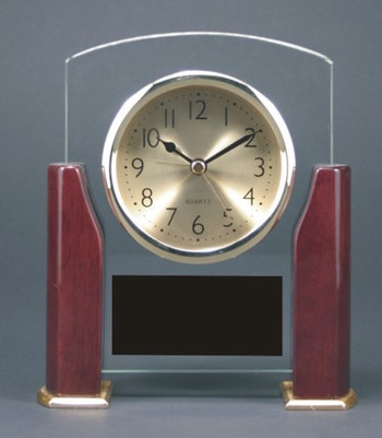 "CLOCK ROSEWOOD PIANO FINISH WITH HALF COLUMNS 6"" X 6-3/4"""