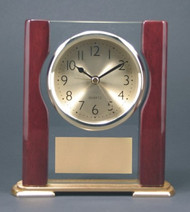 "CLOCK ROSEWOOD PIANO FINISH WITH FULL COLUMNS 6"" X 6-3/4"""