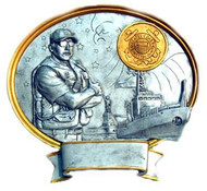 """8"""" tall oval resin legend military plaque, US Coast Guard Male Service Member that can be used with its pedestal, hung to a wall by itself or mounted to an awards plaque board."""