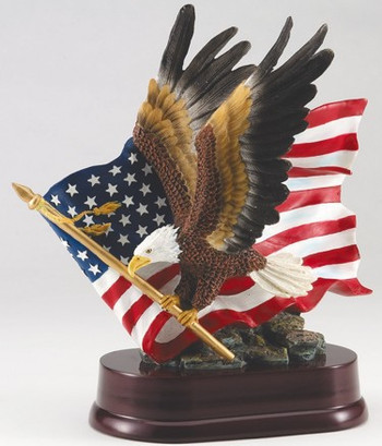"EAGLE HAND PAINTED WITH US FLAG IN BACKGROUND. 10-1/2"" TALL, 10"" WIDE."