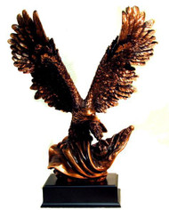 "Eagle Large 19"" Total Height With a 14"" Wing Span Bronze Tone Metal Clad Mounted on a Black Base."