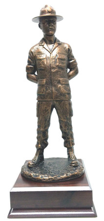 16 inches total height Army or Air Force Drill Sergeant military statue mounted on a 6-1/2 inches wide by 6-1/2 inches deep by 2-1/2 inches high laminated cherry base.