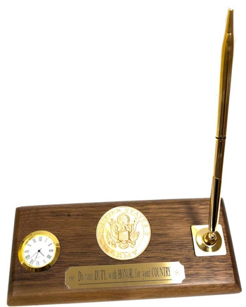 "3-1/2"" X 4"" GENUINE WALNUT DESK SET WITH MINIATURE CLOCK AND 1 QUALITY BRASS PEN. SHOWN WITH ARMY INSERT. CAN BE REPLACED WITH NAVY, AIR FORCE, MARINE OR COAST GUARD INSERT."