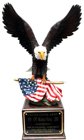 "LARGE HAND PAINTED EAGLE MOUNTED ON LAMINATED CHERRY BASE. 22"" TALL WITH 14"" WING SPAN."