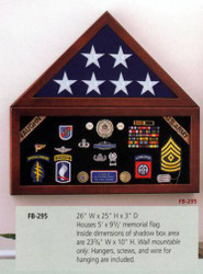 US Flag Display Case with Shadow Box for 5X9 US Memorial Flag