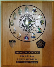 12 X 15 GENUINE RED ALDER CAREER / ASSIGNMENTS CLOCK PLAQUE.  CUSTOMER MUST PROVIDE PIN-ON INSIGNIA.  A PAPER PROOF WILL BE PROVIDED FOR APPROVAL. CAN BE PREPARED FOR ANY OF THE MILITARY SERVICES. 14 DAYS TURNAROUND TIME.