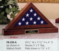 FLAG DISPLAY CASE FOR 3' X 5' CEREMONIAL FLAG WITH BASE. CHOICE APPALACHIAN HARDWOOD WITH WALNUT STAIN.