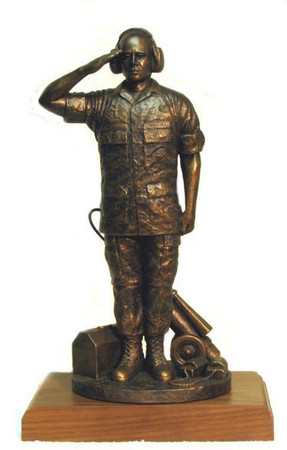 "18"" TALL FLIGHT MAINTAINER MILITARY STATUE MOUNTED ON 7"" X 11"" X 1.5"" GENUINE WALNUT BASE."