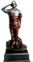 "FLIGHT LINE MAINTAINER MILITARY STATUE BRONZE TONE MOUNTED ON A 6.5"" WIDE X 6.5""LONG  X 2-1/4"" HIGH LAMINATED WOOD BASE.  TOTAL HEIGHT IS 15""."
