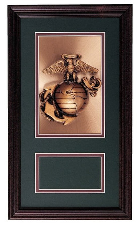 "MARINE (USMC) EMBLEM MOUNTED ON A 9-1/2""W X 16-1/2""H SOLID WOOD FRAME WITH A 3"" X 5"" ENGRAVING PLATE. DOUBLE BEVEL CUT MATTING."