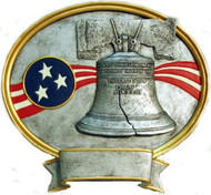 "8"" tall oval resin legend military plaque, Liberty Bell that can be used with its pedestal, hung to a wall by itself or mounted to an awards plaque board."