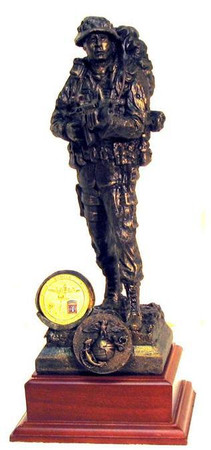 """12"""" TALL MARINE RECON MILITARY STATUE MOUNTED ON A 5"""" X 5"""" X 2-1/2"""" LAMINATED WALNUT BASE. SHOWN SAMPLE COIN NOT INCLUDED."""