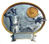 "8"" tall oval resin legend military plaque, US Navy Male Service Member that can be used with its pedestal, hung to a wall by itself or mounted to an awards plaque board."