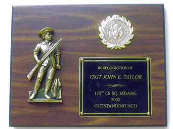 "PLAQUE 10.5"" X 13"" LAMINATED CHERRY WITH MINUTEMAN STATUE. SPECIFY REQUIRED LOGO."