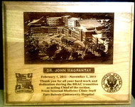 "8"" X 10"" GENUINE CHERRY, HIGHLY DETAILED LASER ENGRAVED PLAQUE OF FORT BELVOIR COMMUNITY HOSPITAL."