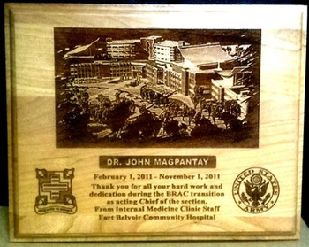 "GENUINE CHERRY LASER PLAQUE OF FORT BELVOIR COMMUNITY HOSPITAL 9"" X 12"""