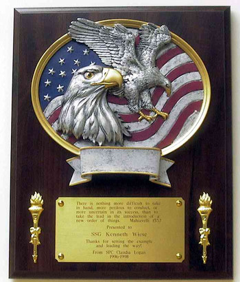 "LAMINATED CHERRY PLAQUE 10.5""X13"" WITH MAJESTIC EAGLE RESIN OVAL PLATE AND 2 BRASS TORCHES."