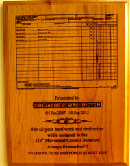 "PLAQUE RED ALDER 9"" X 12"" LASER ENGRAVED. DA2062 ""THE HAND RECEIPT"""