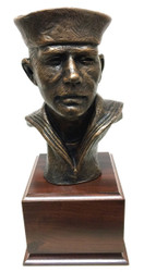 """12"""" tall Sailor bust military statue mounted on a laminated cherry base 5-1/2"""" wide x 5-1/2"""" long x 4.0"""" tall"""