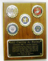 "Military plaque with 5 logos, 9"" x 12"" genuine walnut.  Specify required logos and their placement."