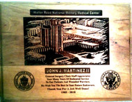 "Genuine cherry, highly detailed, laser engraved, 9"" x 12"" Walter Reed National Military Medical Center Plaque."