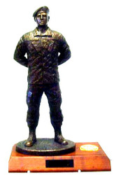 "18"" tall Soldier at parade rest military statue male mounted on 7""D x 11""W x 1-1/2""H genuine walnut base."