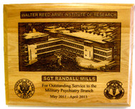"Plaque highly detailed, 9"" x 12"" genuine red alder, laser engraved, Walter Reed Army Institute of Research, WRAIR"