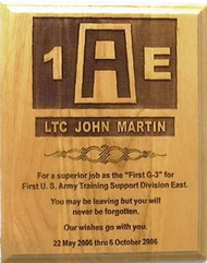 "Military plaque 8"" x 10"" genuine red alder, laser engraved, 1st Army East."