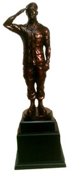 """19"""" tall bronze tone saluting Soldier statue mounted on black base.  Great detail on this statue."""